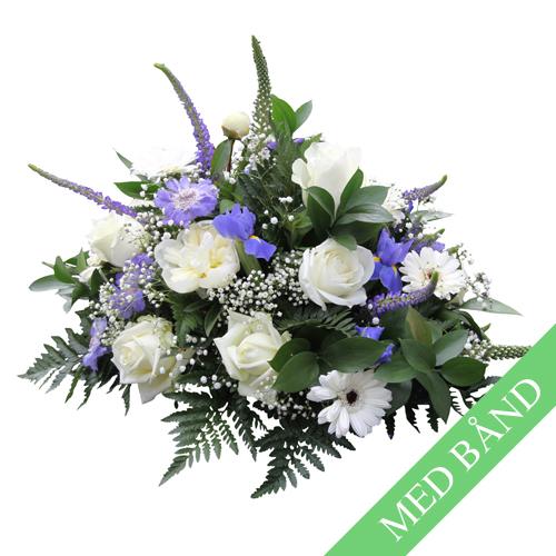 Båredekoration - hvid - blå